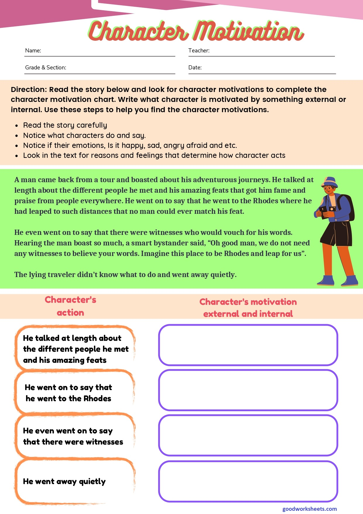 Character Motivation Worksheets with Answer Key