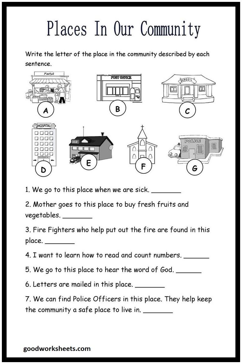 Community Worksheets For 2nd Grade