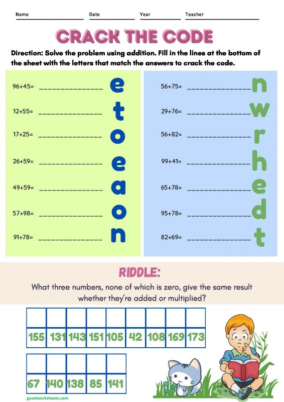 Crack the Code Worksheets with Answer Key
