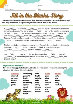 Fill in the Blanks Story Worksheets with Answer Key