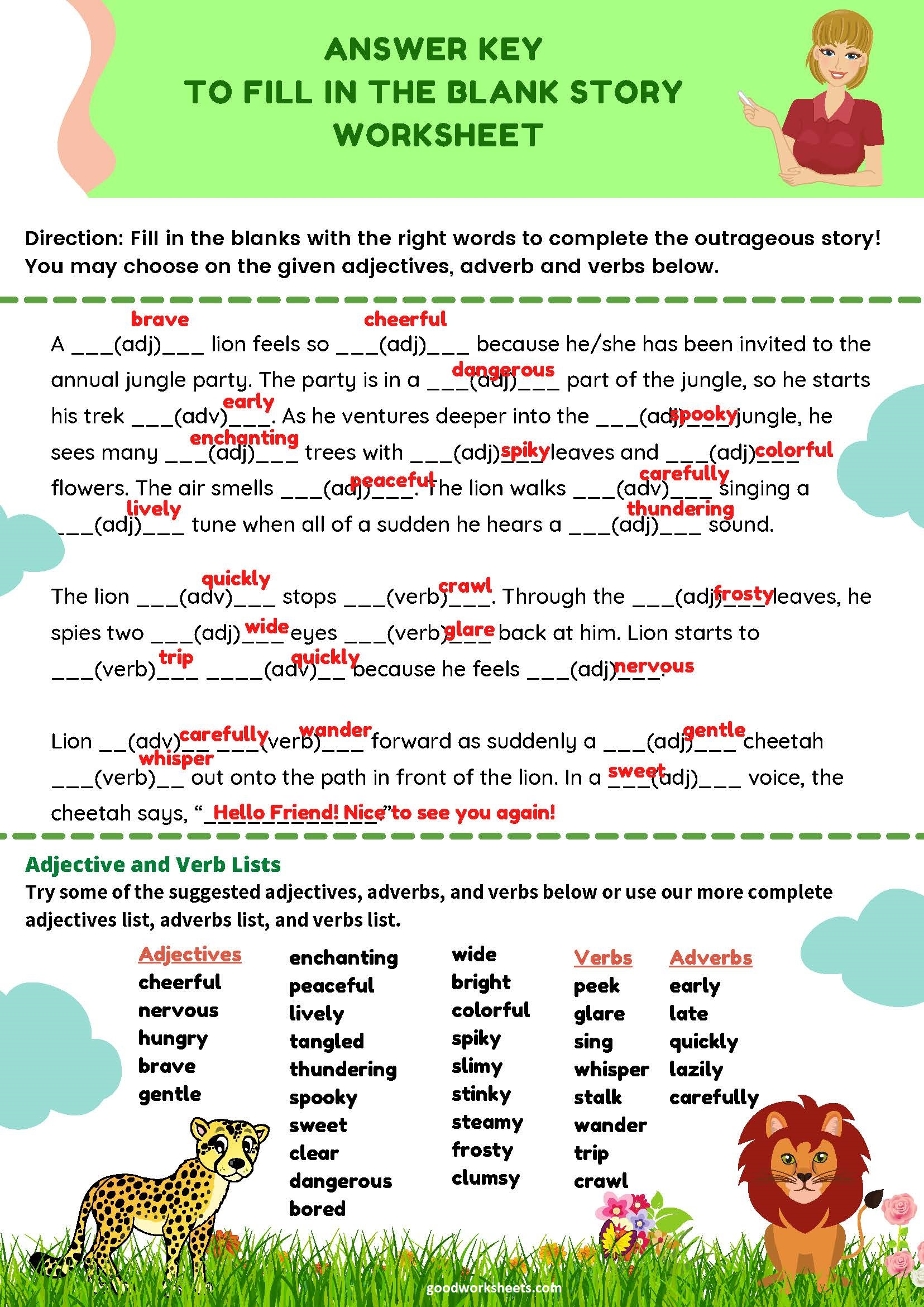 Fill in the Blanks Story Worksheets Answer Key