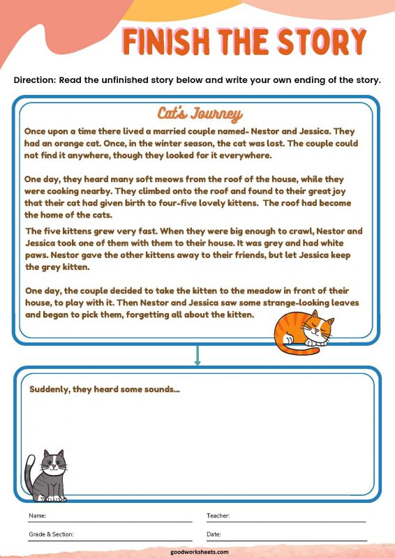 Finish The Story Worksheets with Answer key