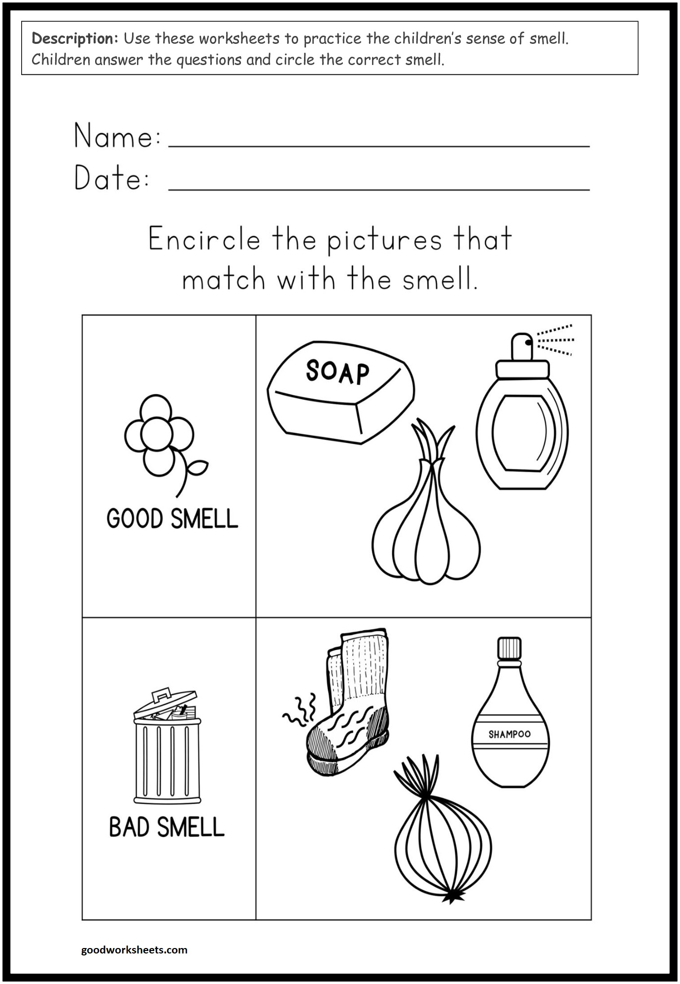 Good And Bad Smell Worksheets For Kindergarten & Preschool