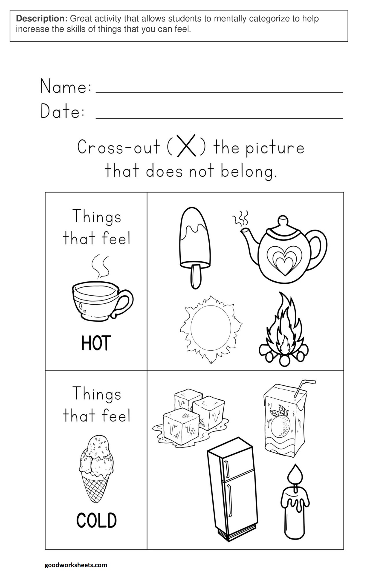 Hot And Cold Worksheets for Kindergarten & Preschool