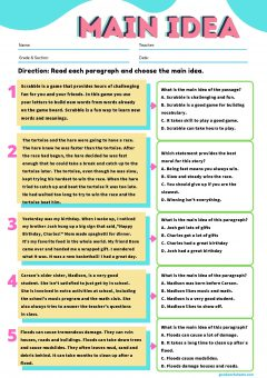 Main Idea Worksheets Multiple Choice with Answer Key