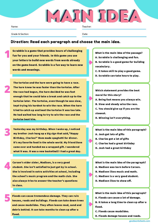 Main Idea Worksheets Multiple Choice