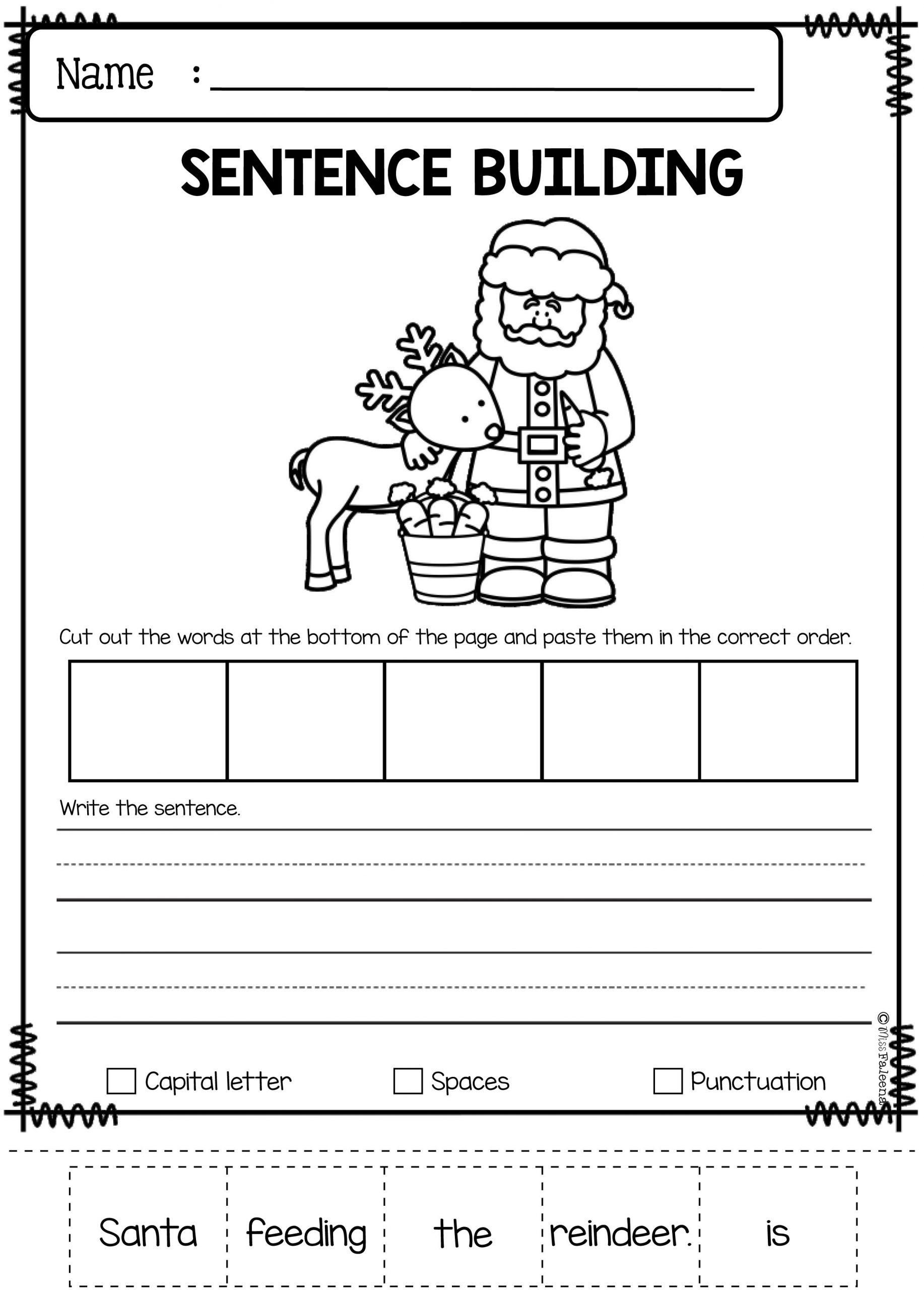 Practice Sentence Worksheet for Kindergarten