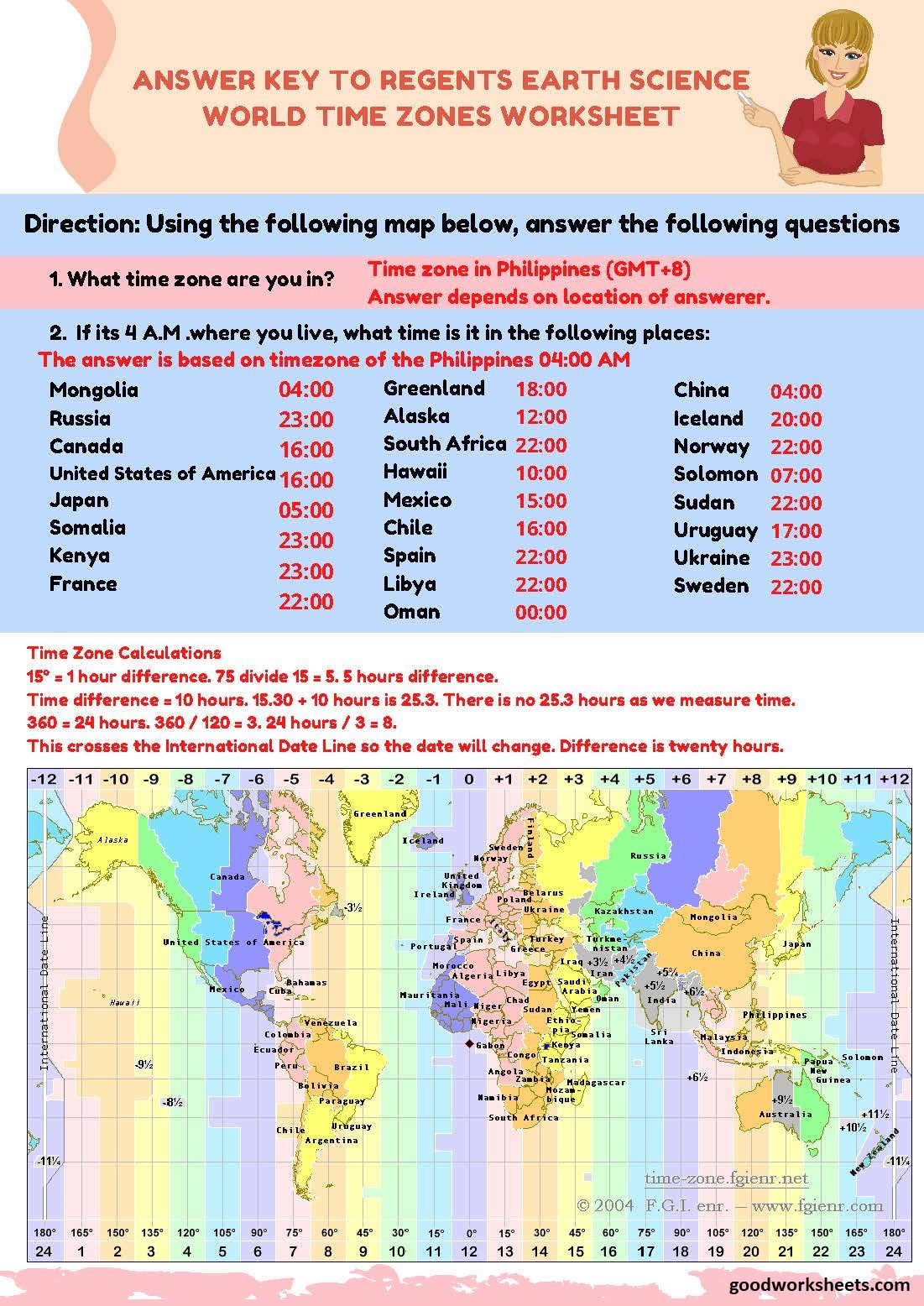 Regents Earth Science World Time Zones Worksheets