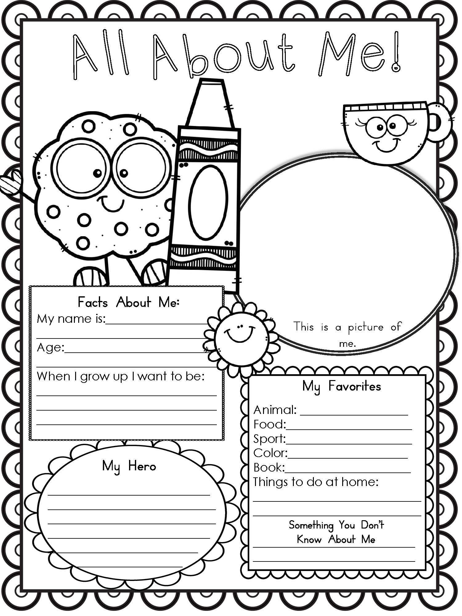 All About Me Worksheet For Kindergarten