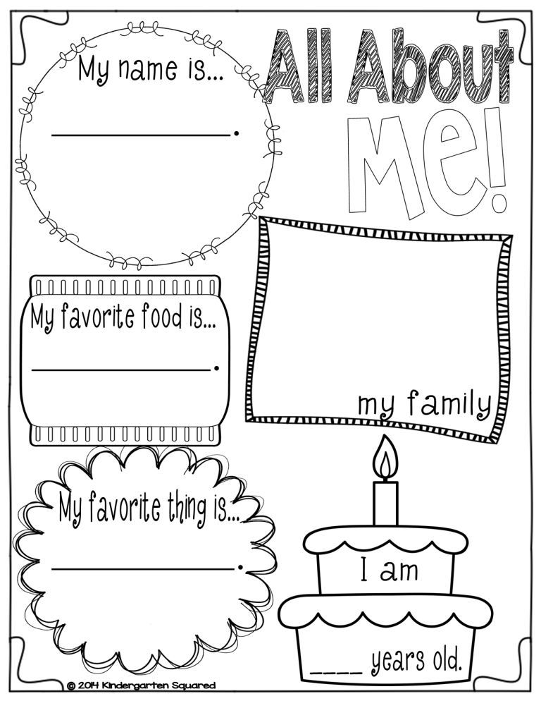All About Me Worksheets For Preschool