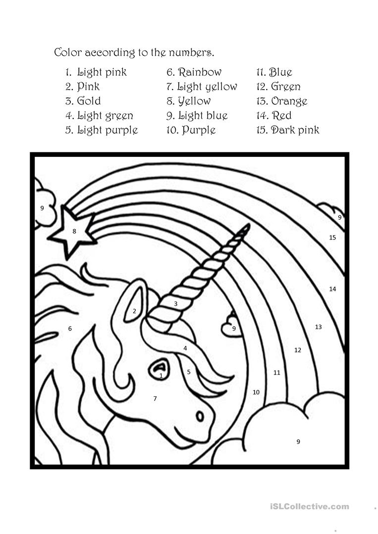 Color The Unicorn According To The Numbers