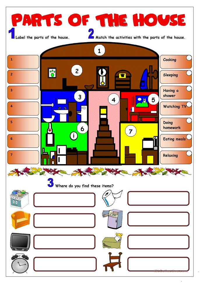 Free Parts Of The House Worksheet