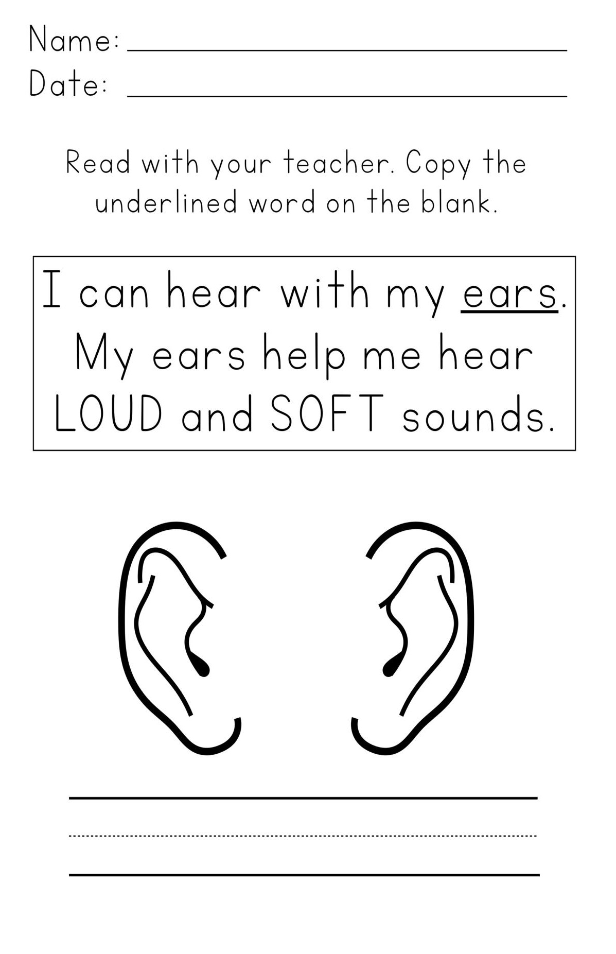 I Can Hear Worksheets