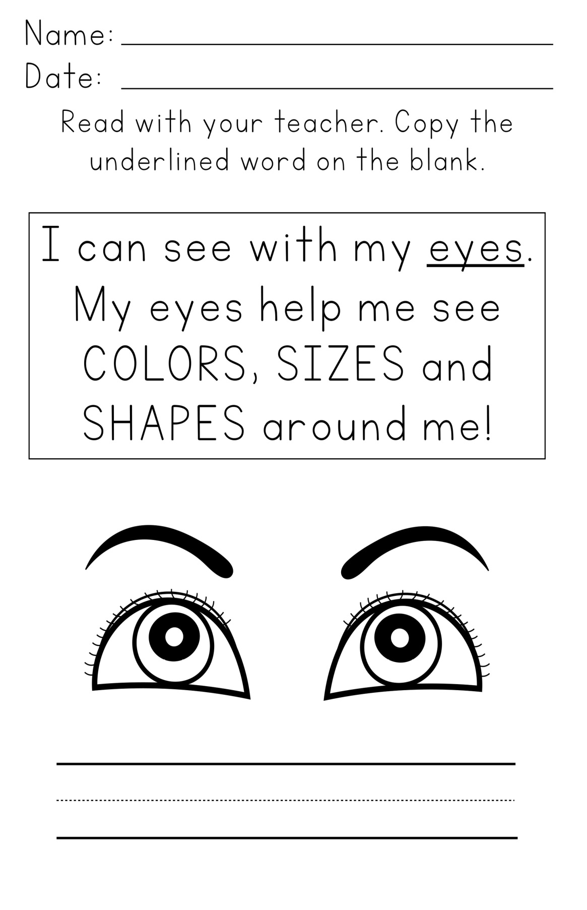 I Can See Worksheets