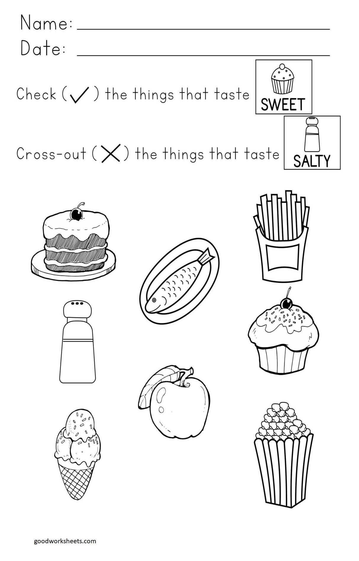 I Can Taste Worksheets