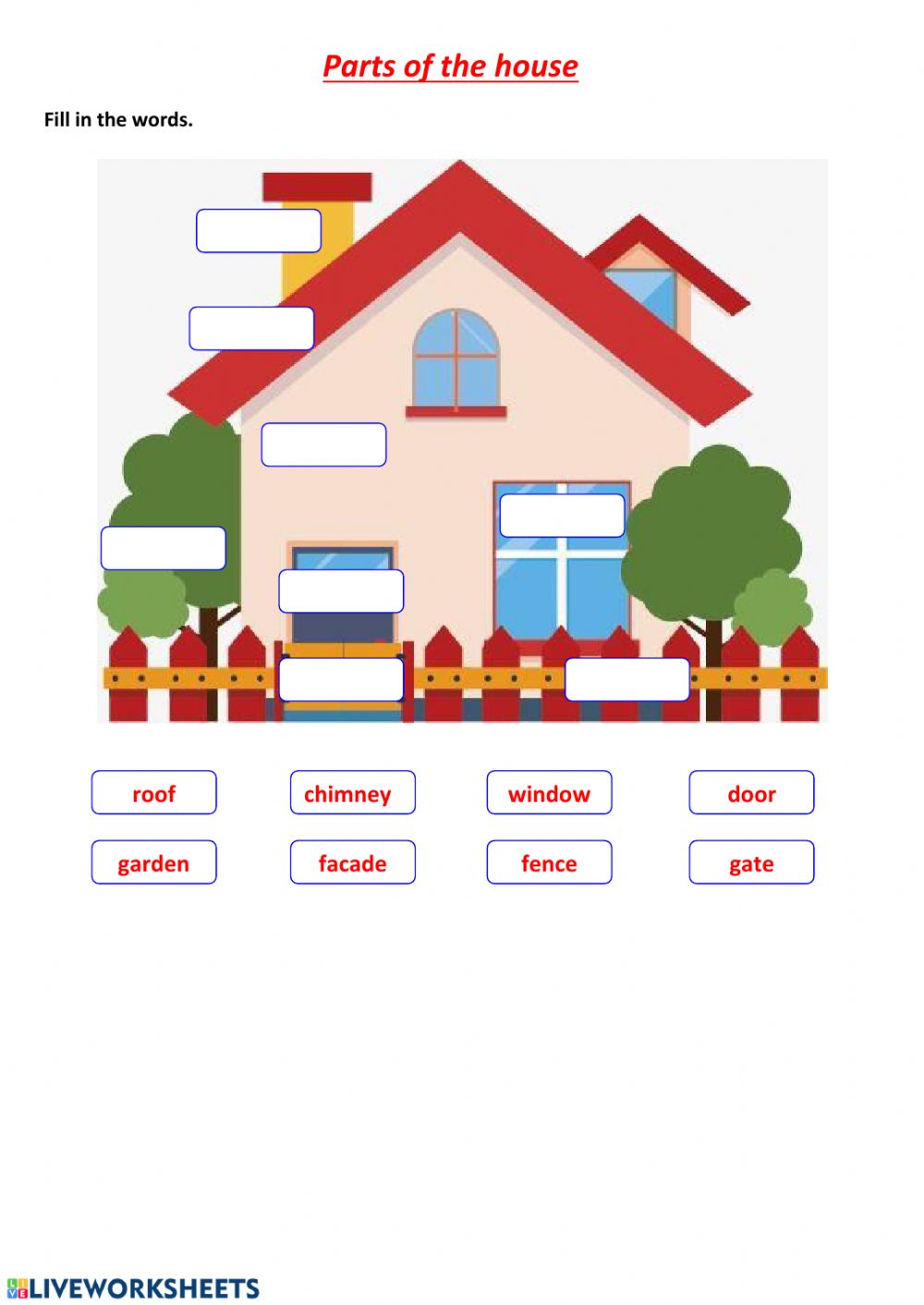 Parts Of The House Exercise For Elementary
