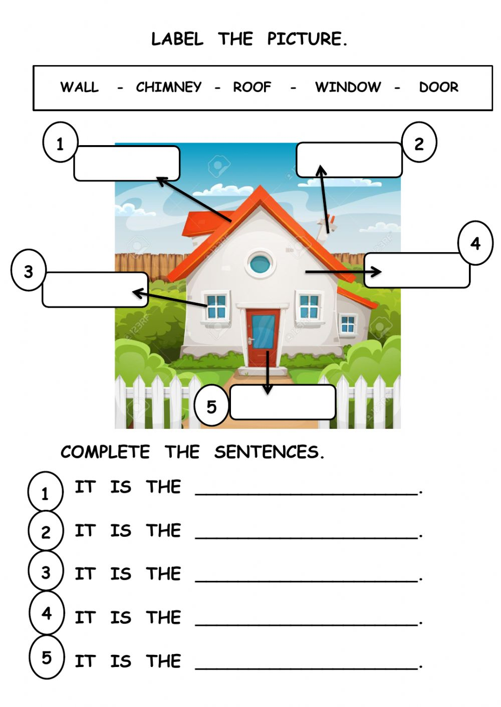 Parts Of The House Interactive Worksheet For Grade 1