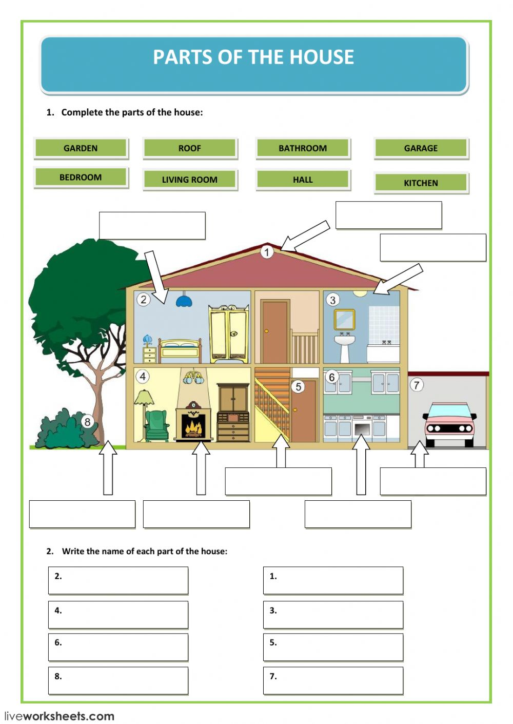 Parts Of The House Interactive Worksheet