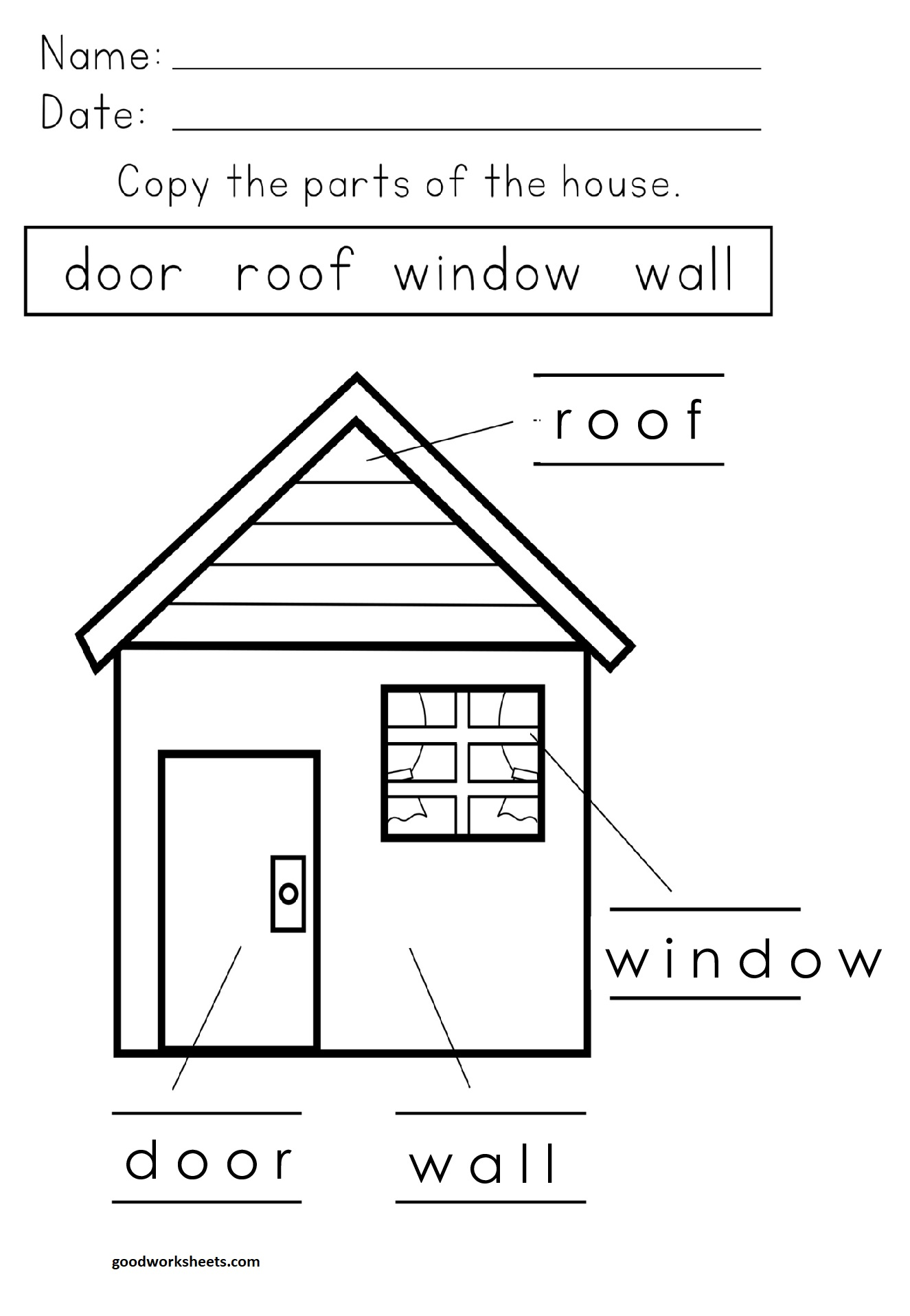 Parts Of The House Worksheets Answer Key