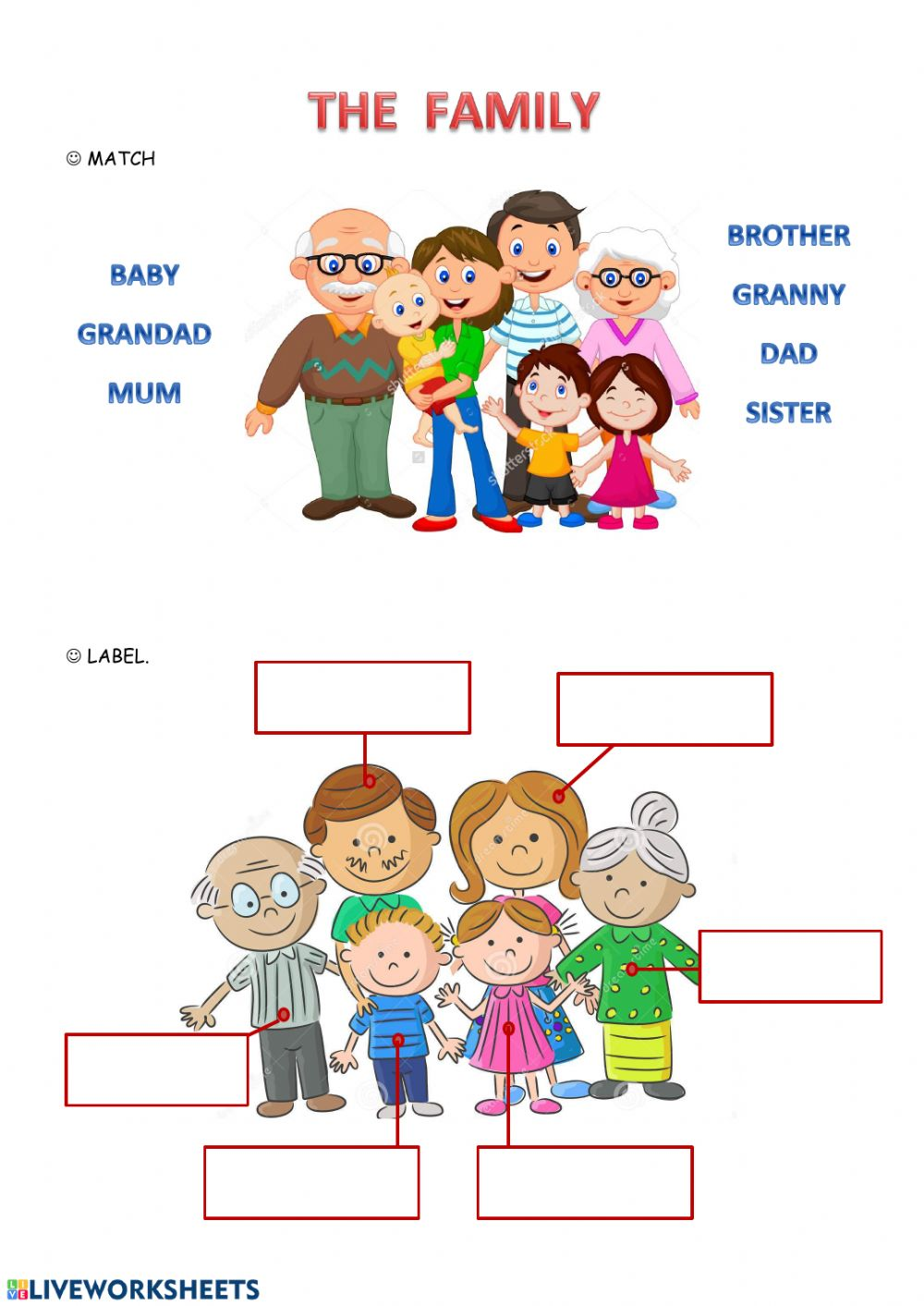 Printable My Family Worksheets