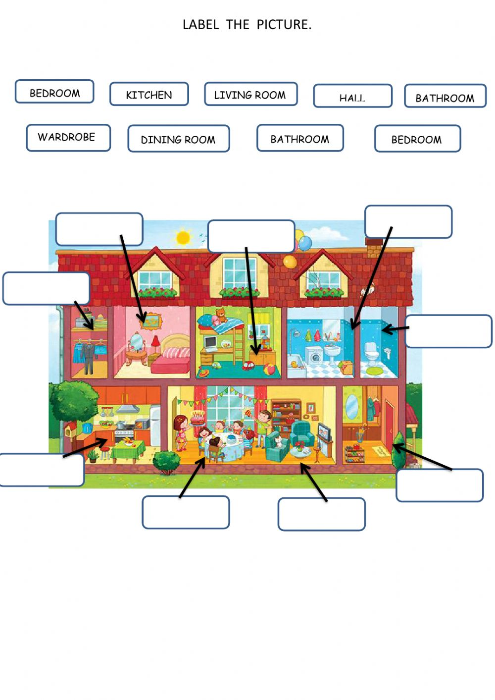 Printable Parts Of The House Worksheets