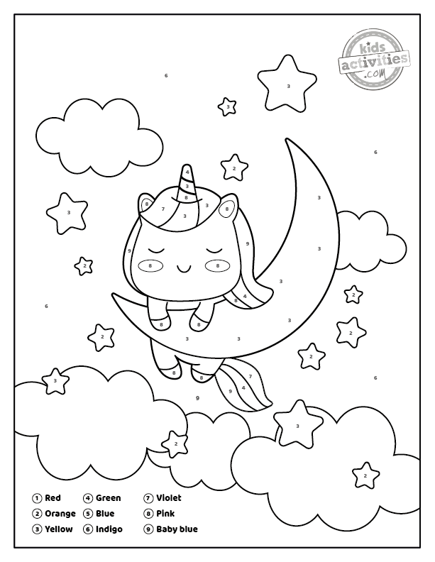 Unicorn Color By Number Coloring Pages 1