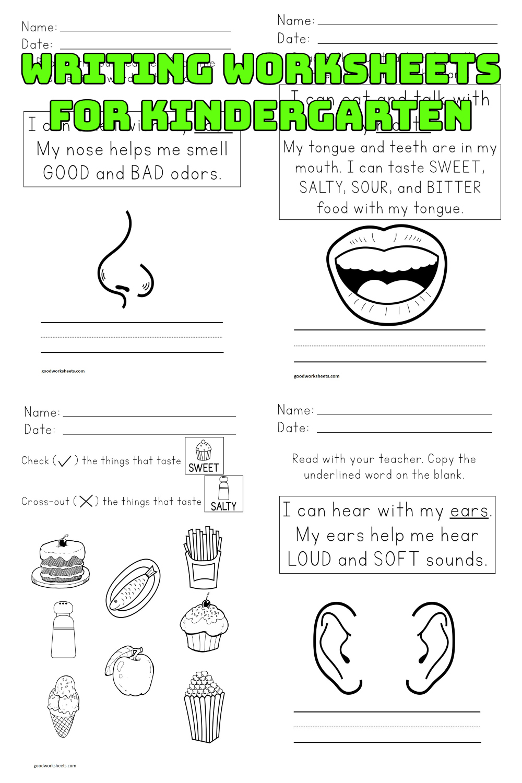 Writing Worksheets For Kindergarten PDF