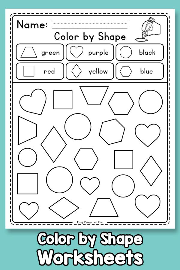 Color By Shape Worksheets