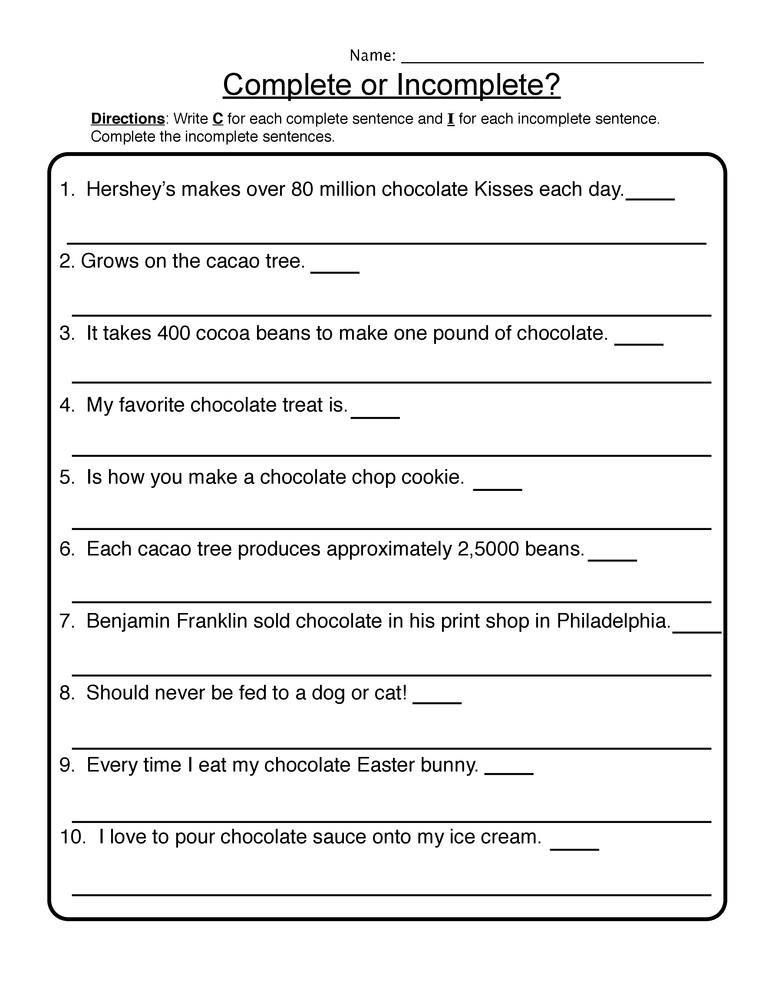 Incomplete Sentence 6th Grade Reading Comprehension Worksheets