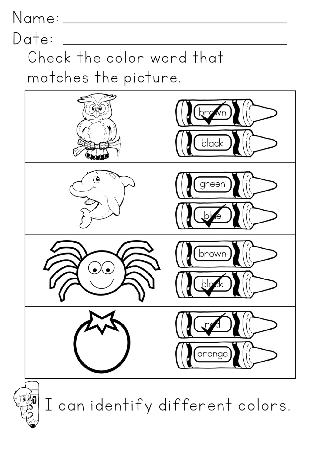 Learning Colors Printables Answer Key