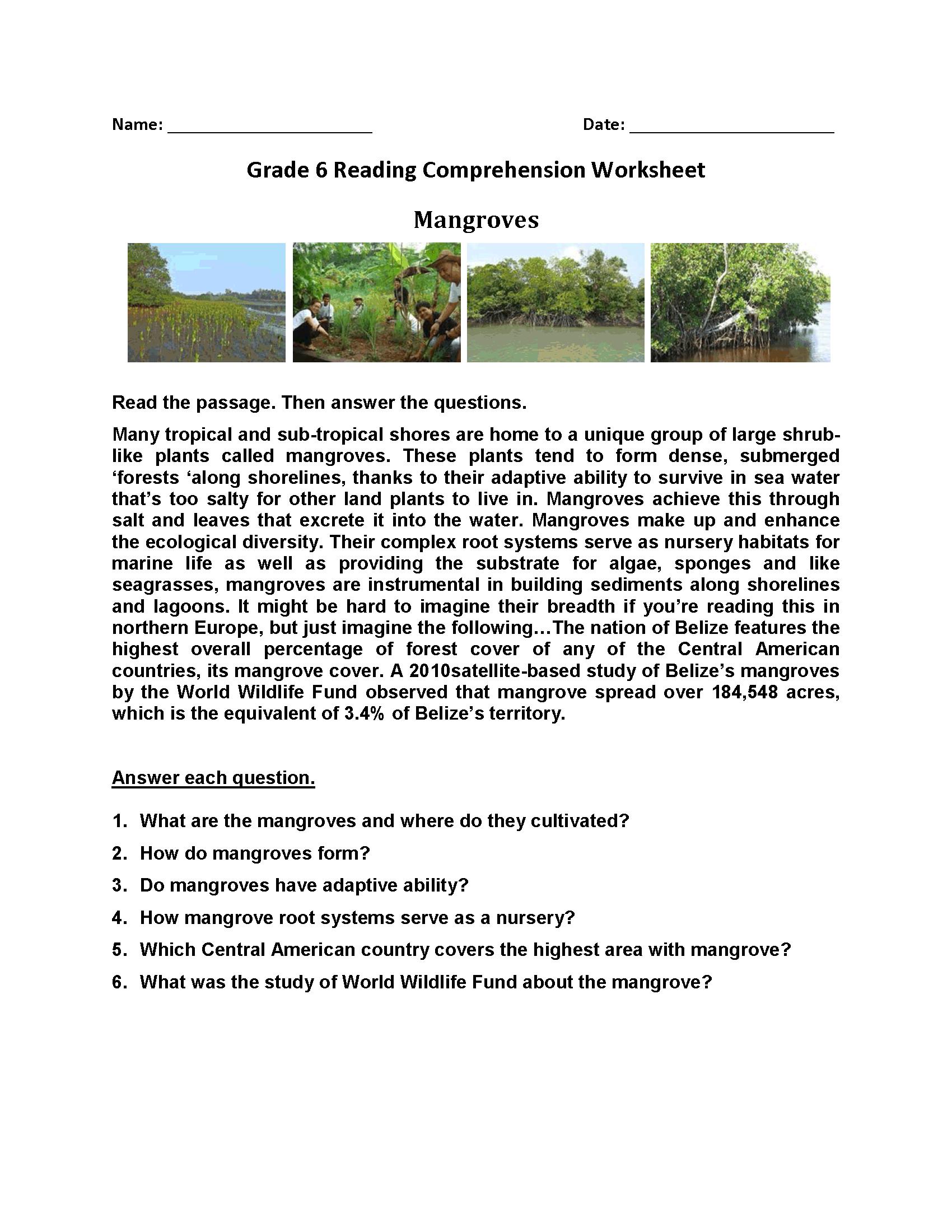 Mangroves Reading Comprehension 6th Grade