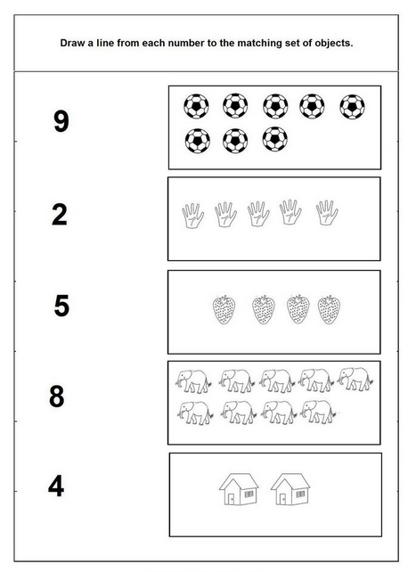 Matching Numbers To Objects Worksheets