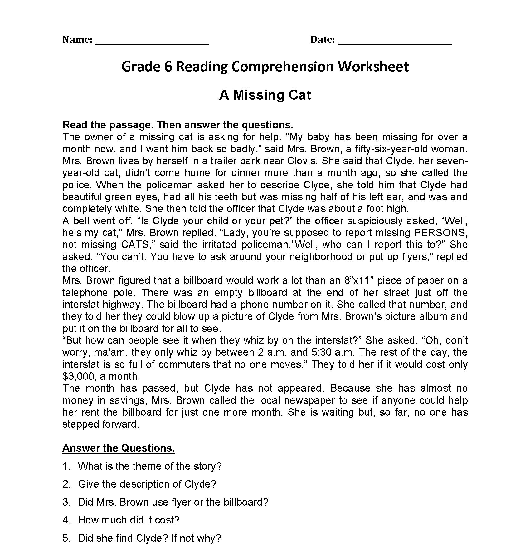 Missing Cat Filler Text 6th Grade Reading Comprehension Worksheets