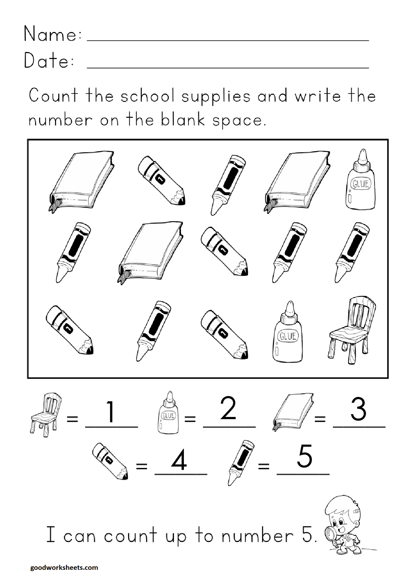 Number Concepts Count Up To 5 Worksheets Answer Key