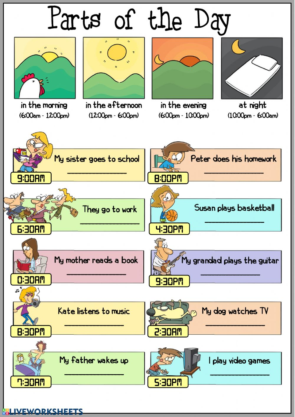 Parts Of The Day Worksheets