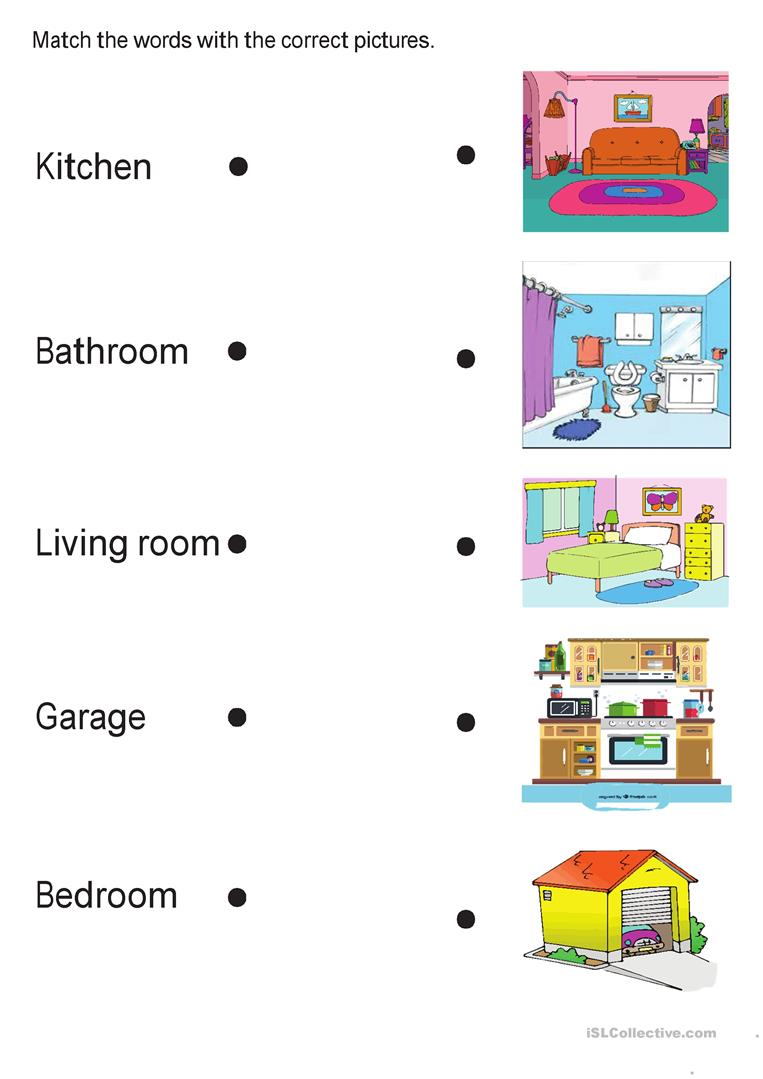 Printable Rooms In The House Worksheets