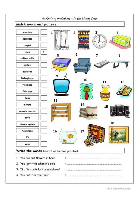 Printable Things In Different Rooms Worksheets