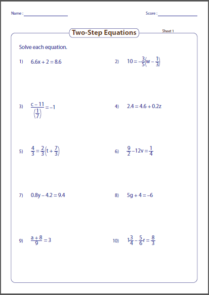 Printable Two Step Equations Worksheets