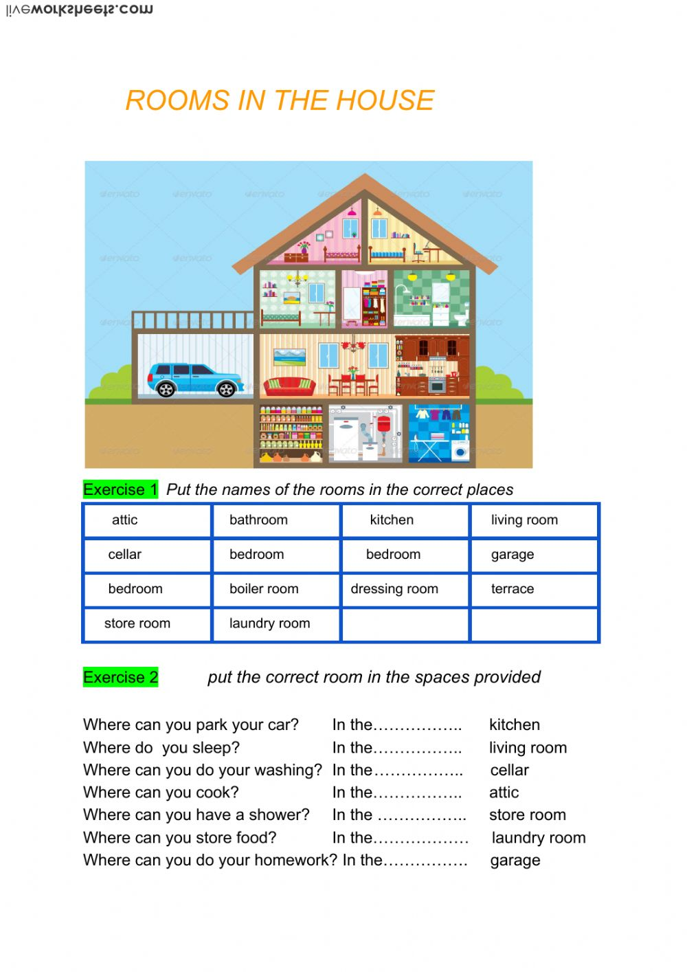 Rooms In The House Interactive Worksheet