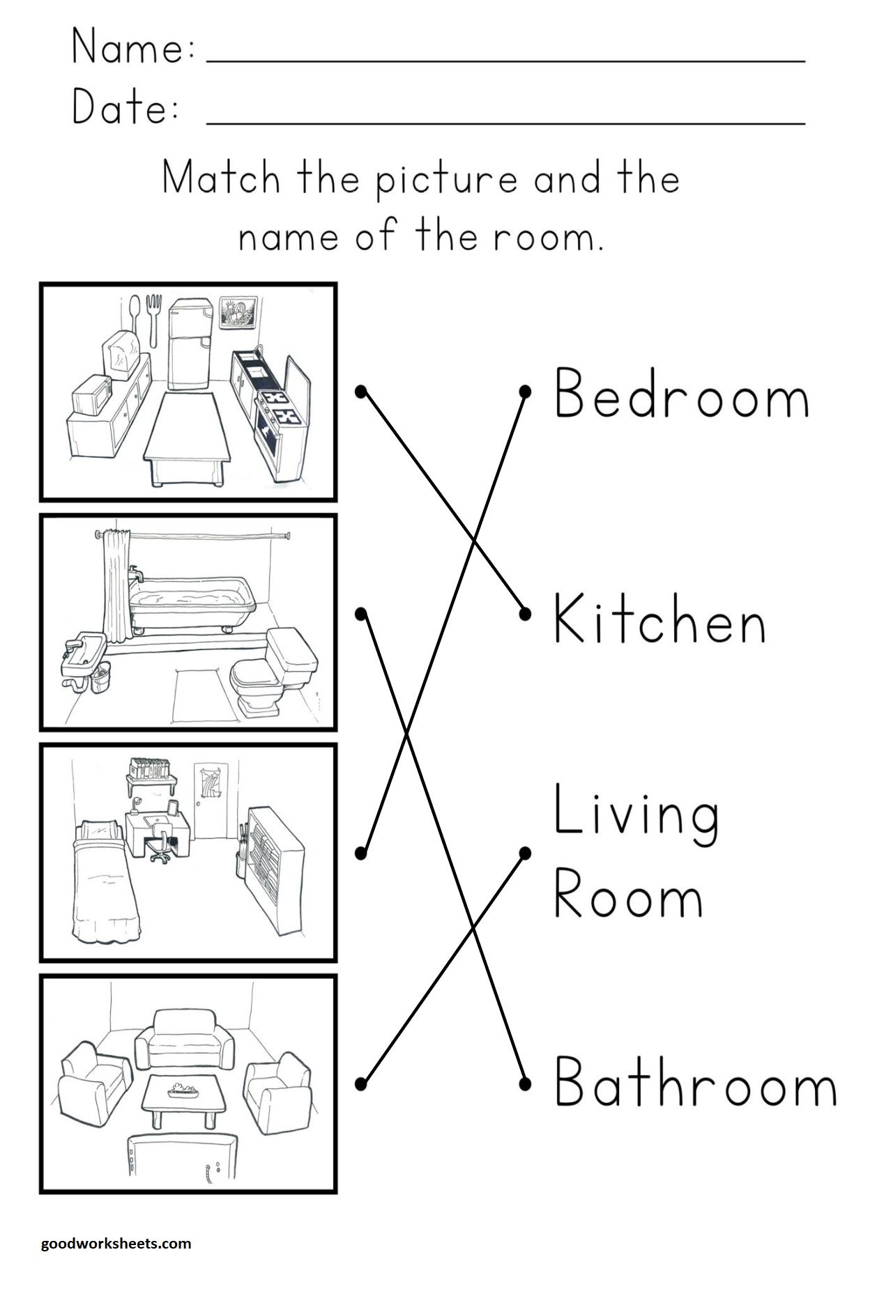 Rooms In The House Worksheets Answer Key