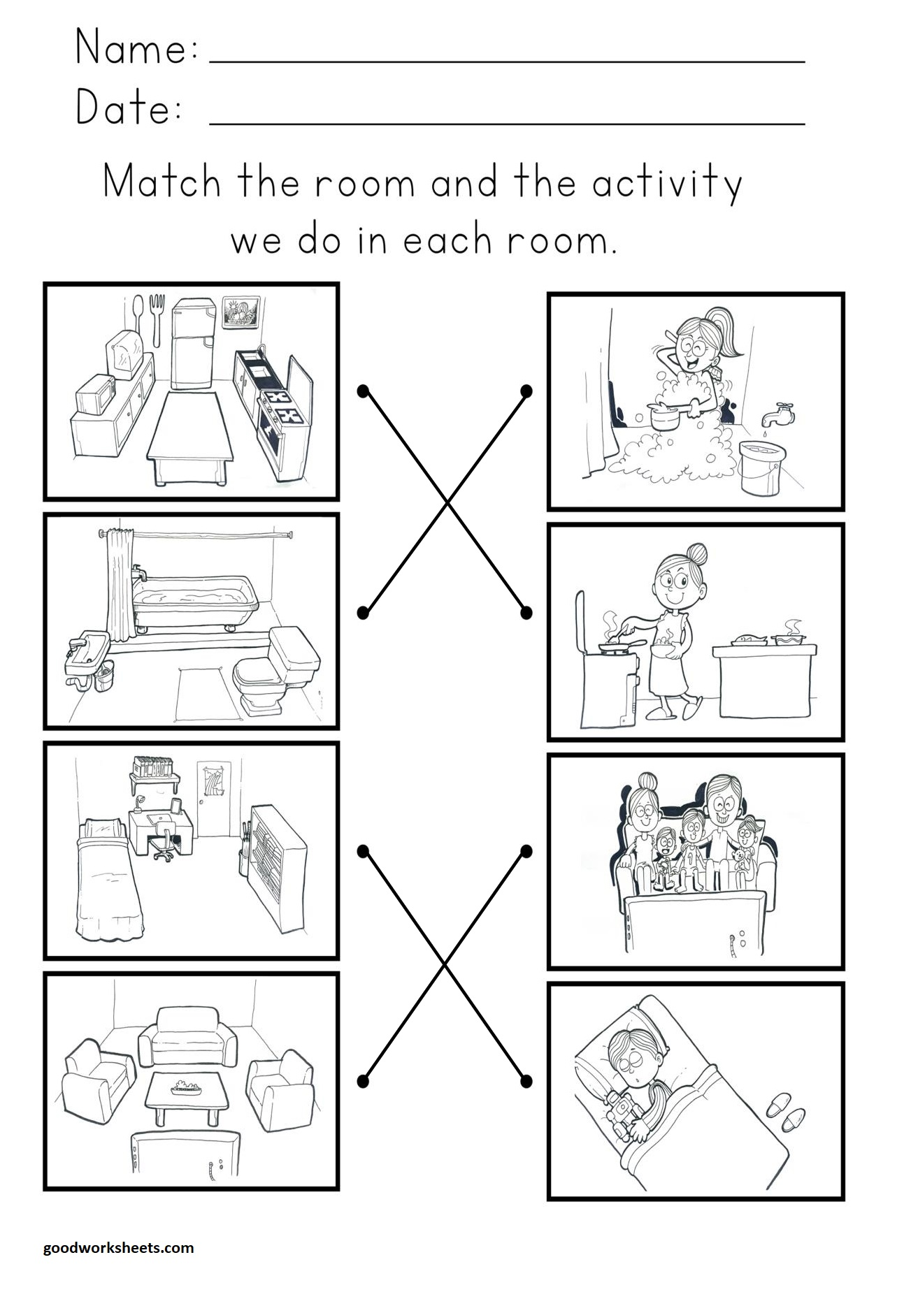 Rooms And Activity Worksheets Anwer Key