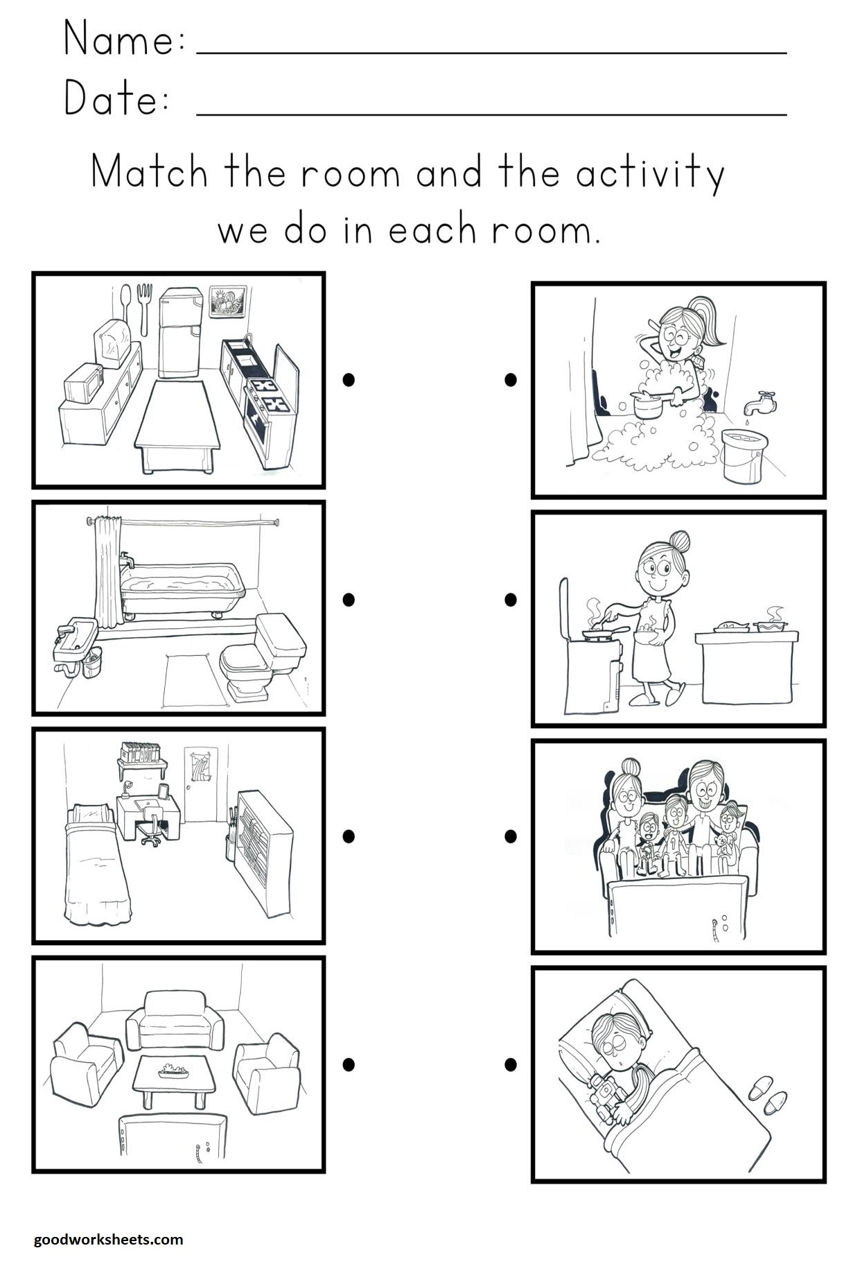 Rooms And Activity Worksheets