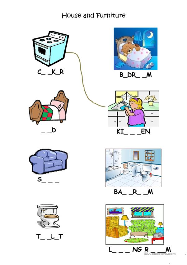 Rooms And Furniture Match Up Worksheet