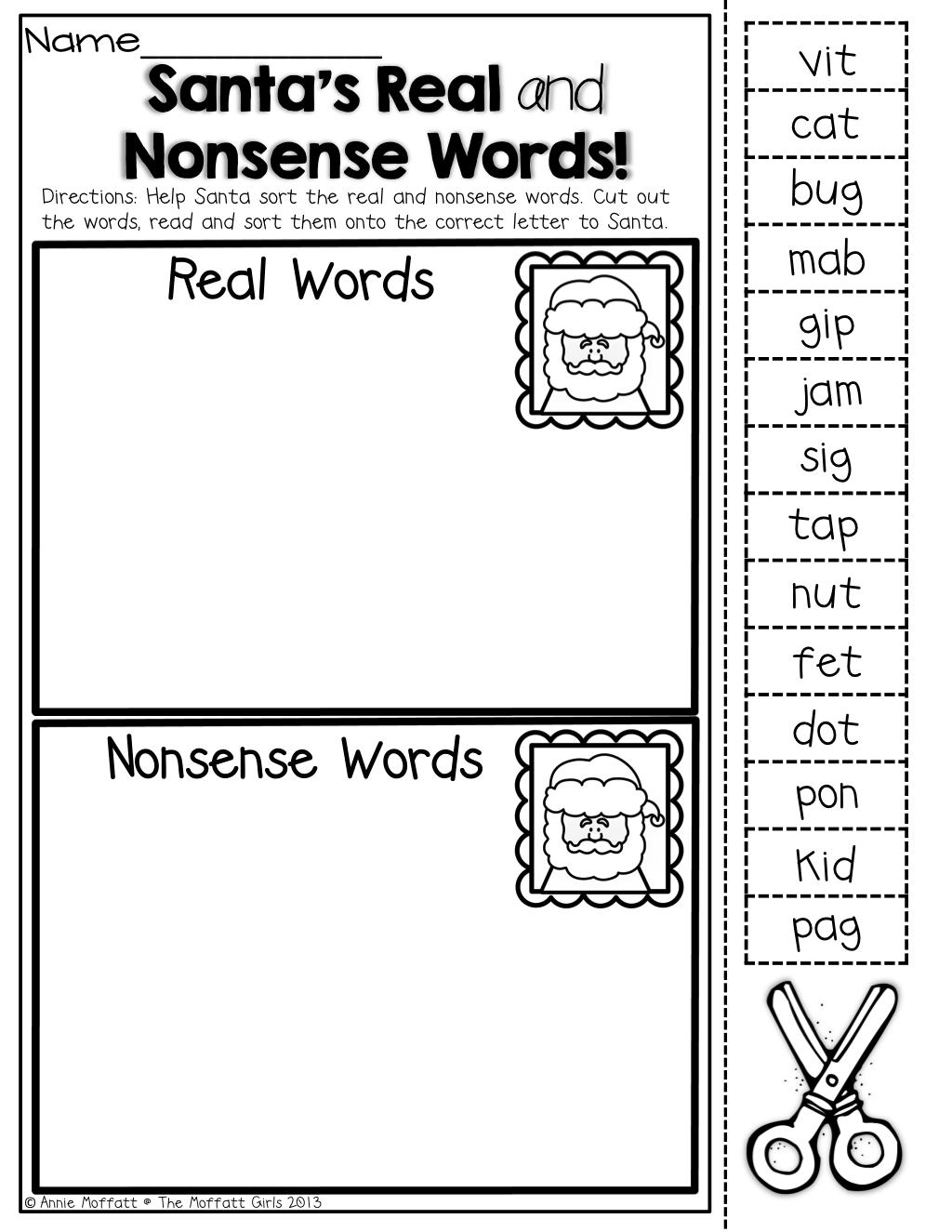 Santa Nonsense Words Worksheets