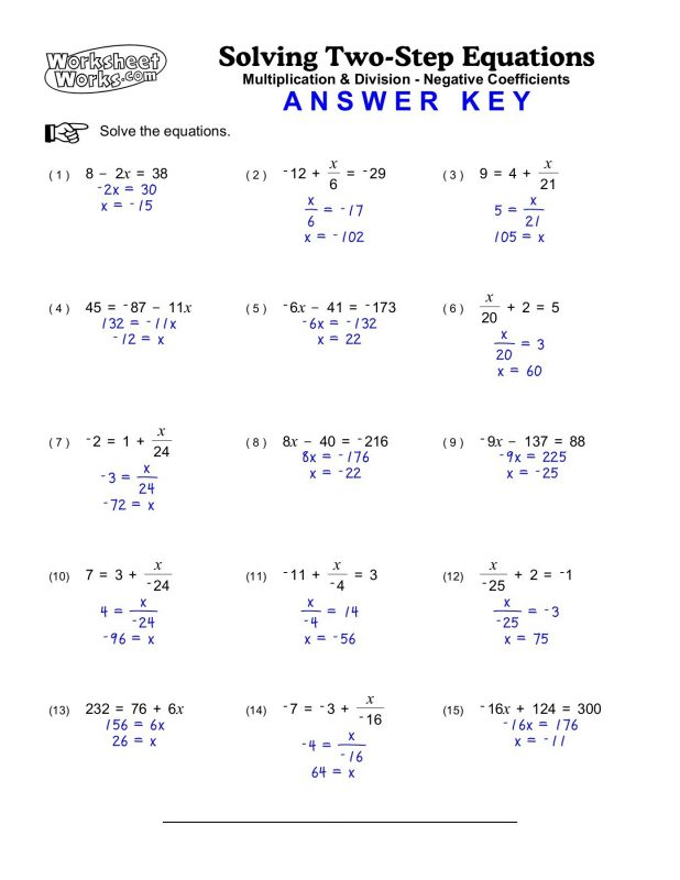 Step By Step Solving Two Step Equations Worksheets