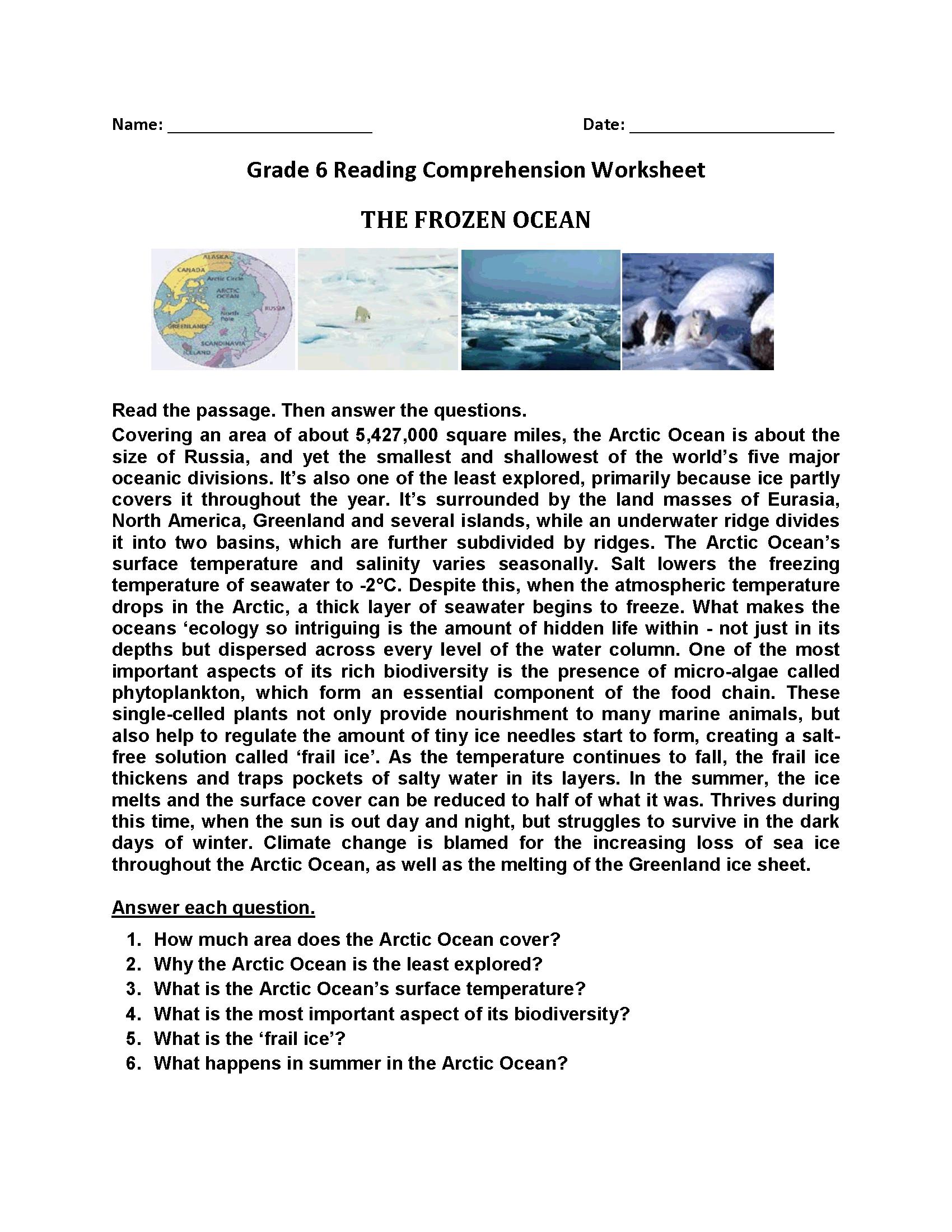The Frozen Ocean Reading Comprehension