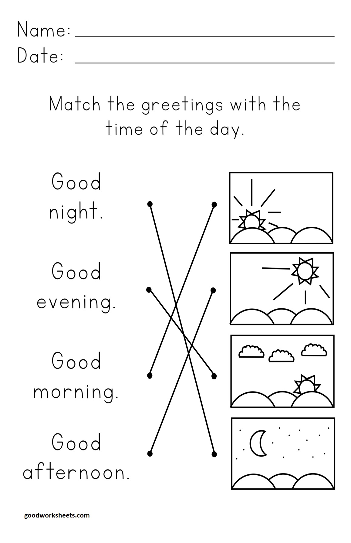 Time Of The Day Worksheets Answer Key
