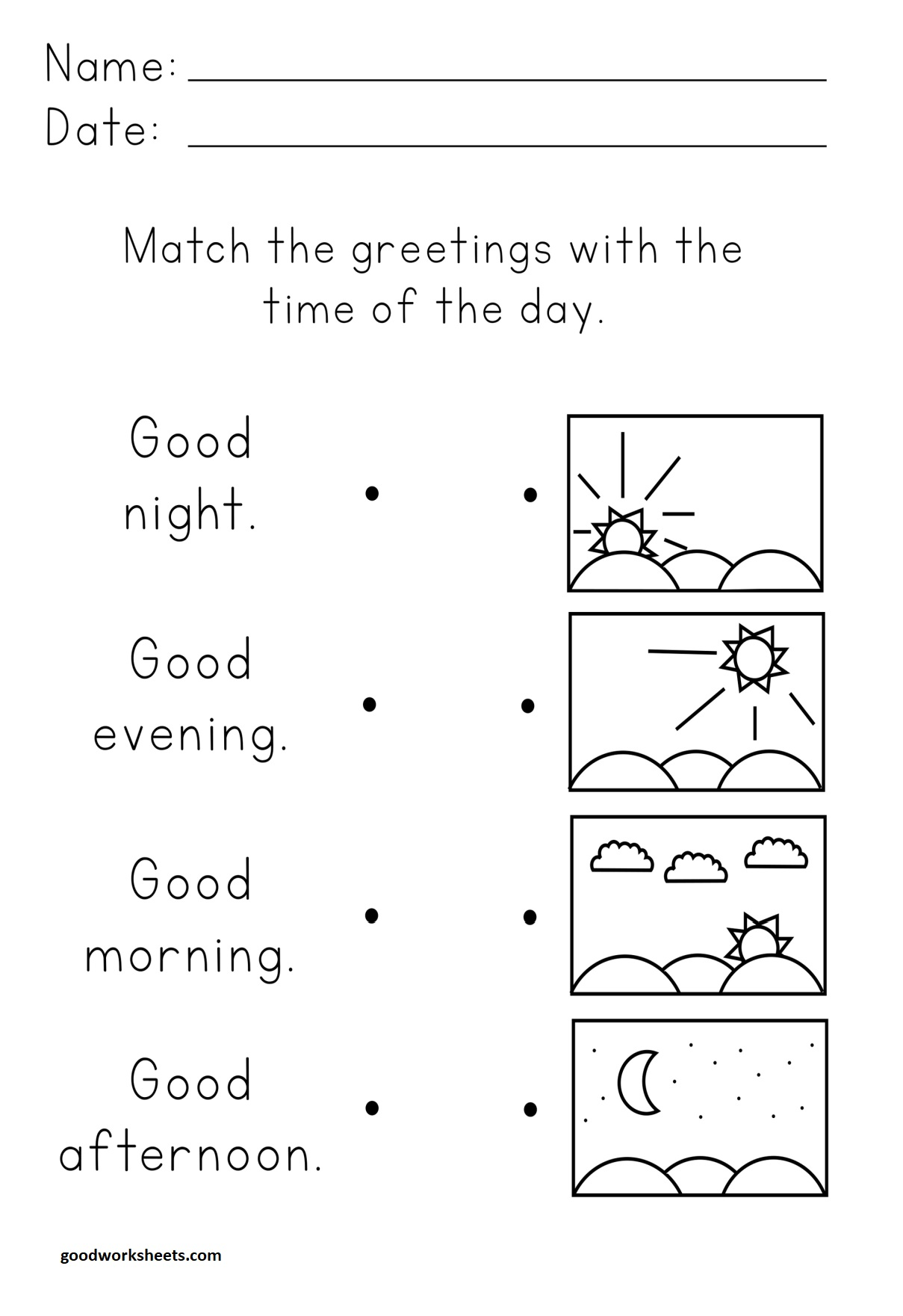 Time Of The Day Worksheets