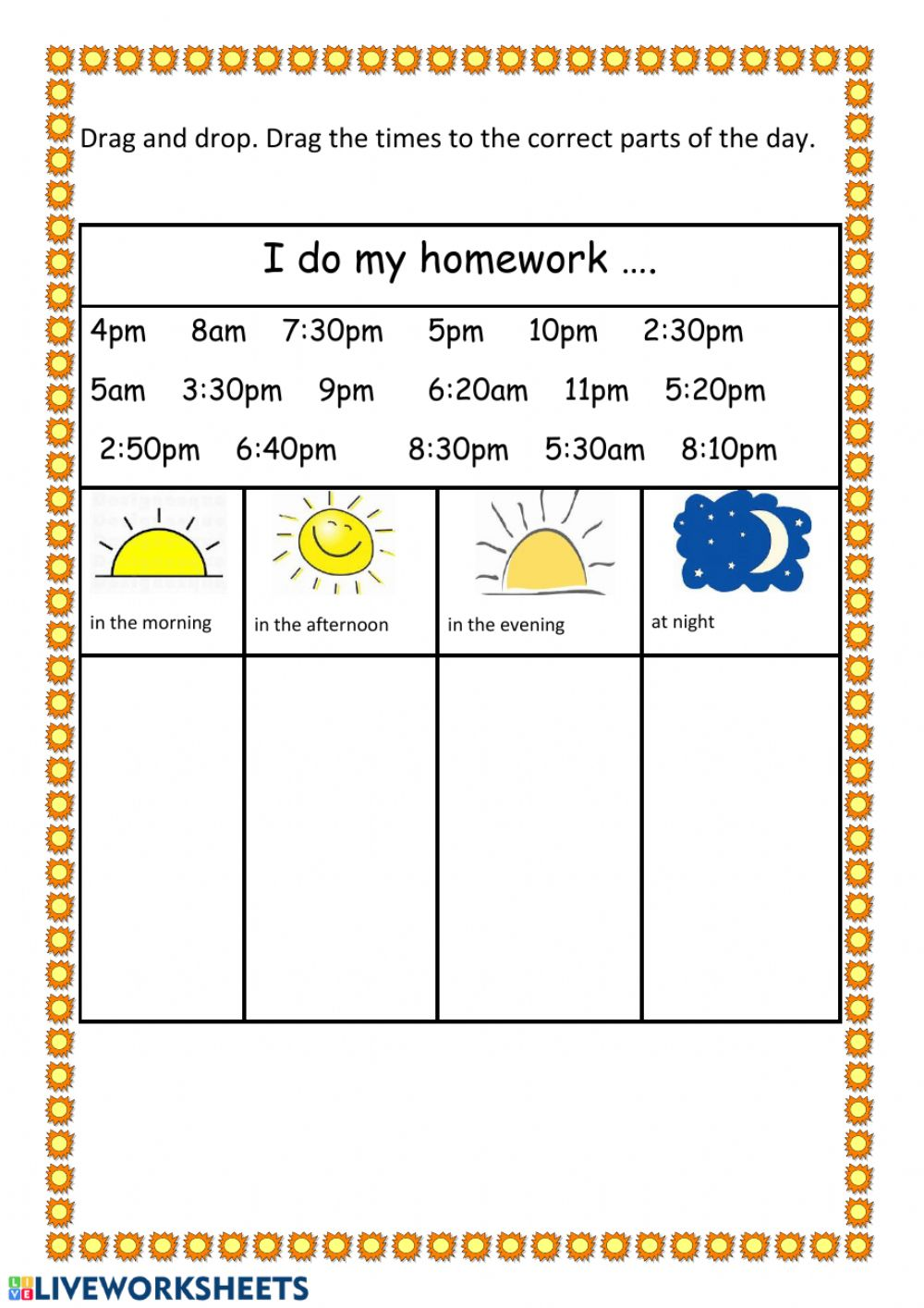 Times And Parts Of The Day Worksheets