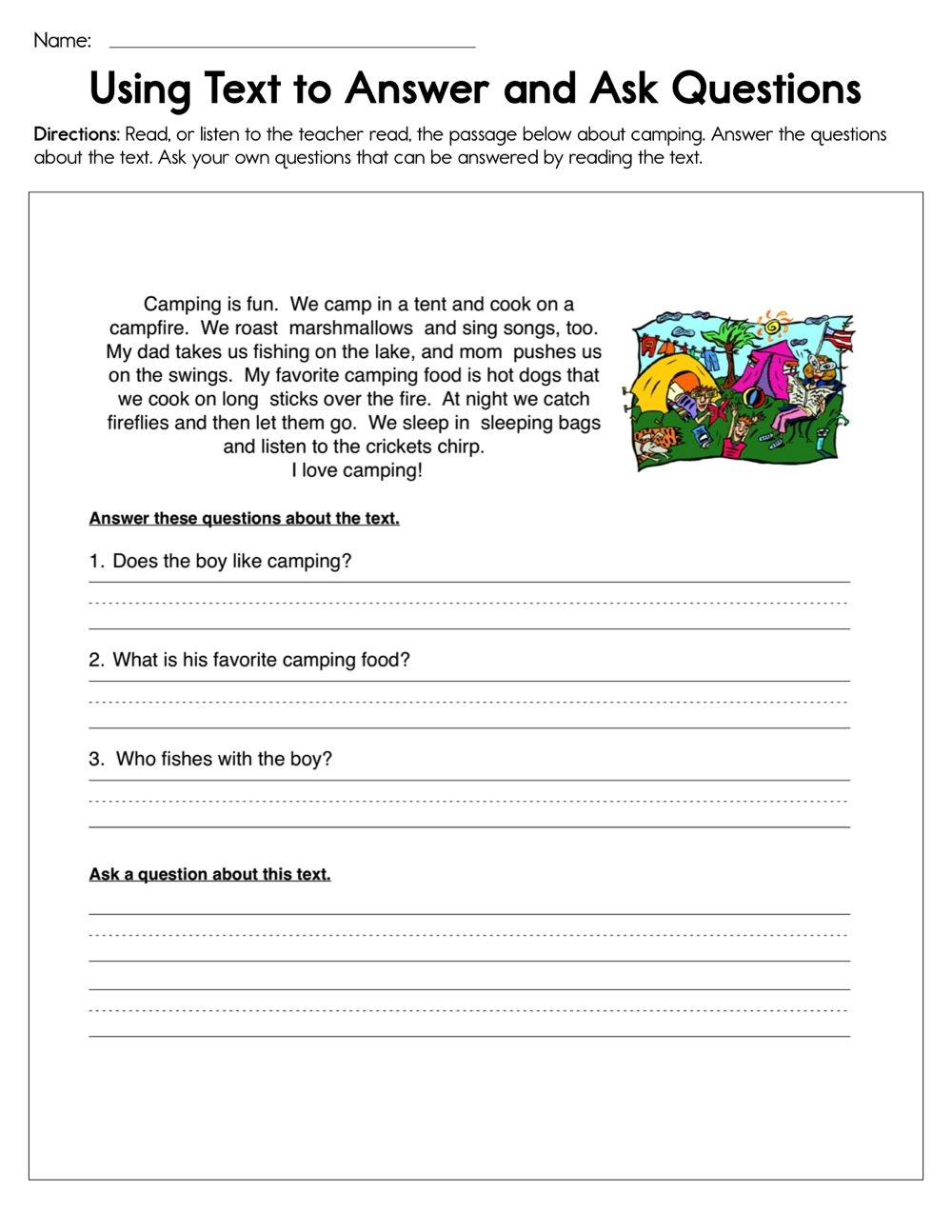 Using Text To Answer And Ask Questions Worksheet